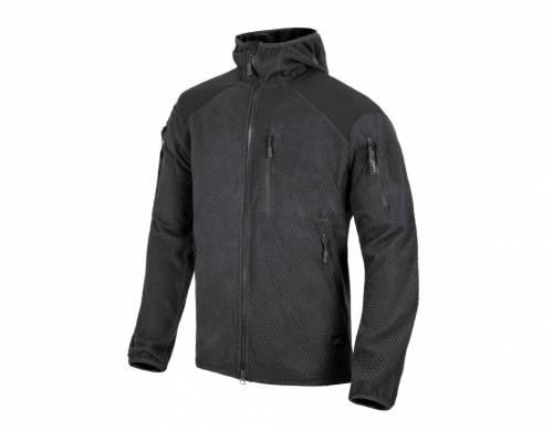 Jacheta model alpha hoodie - grid fleece - black