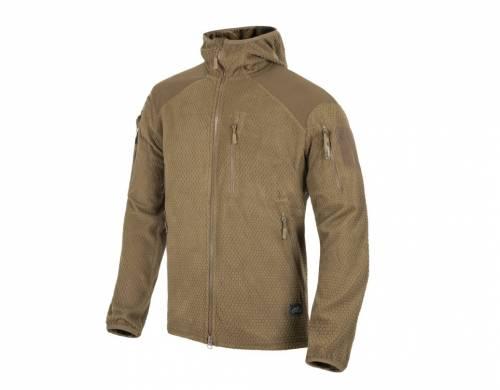 Jacheta model alpha hoodie - grid fleece - coyote