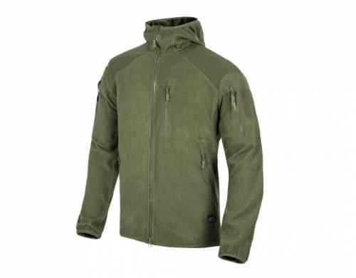 Jacheta model alpha hoodie - grid fleece - olive green