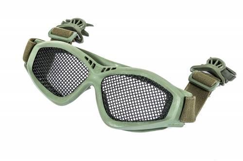 Ochelari cu plasa plus clip pentru prindere pe casca - od green