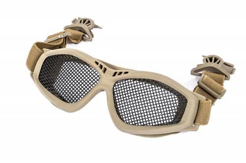 Ochelari cu plasa plus clip pentru prindere pe casca - tan