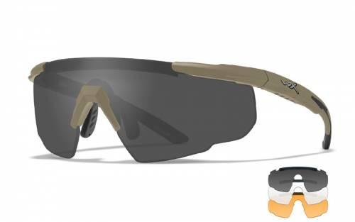 Ochelari cu protectie balistica model saber adv smoke/clear/rust - tan frame