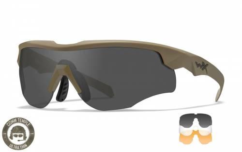 Ochelari tactici cu protectie balistica model rogue comm cu 3 lentile - rama tan