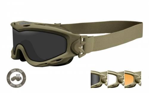Ochelari tactici cu protectie balistica model spear cu 3 lentile duble - matte tan