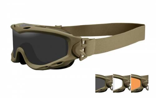 Ochelari tactici cu protectie balistica model spear cu 3 lentile - tan frame