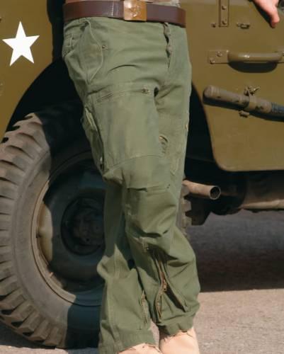 Pantaloni model aviator prespalati - oliv