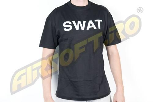Tricou negru cu imprimeu swat