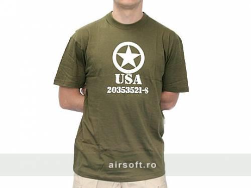 Tricou oliv cu imprimeu allied star